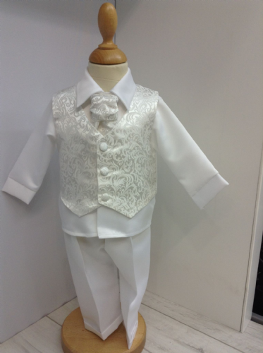 White Christening Suit with Paisley Detail